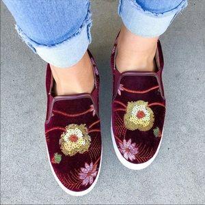 Steven Burgundy Floral Velvet Loafers Size 8.5